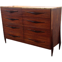 Rosewood Marble Chest Mid-Century