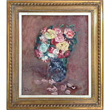 Vase of Flowers Oil by Emilie Charny France