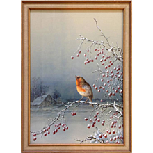 Henry Bright Bird on Berry Branch British Watercolor