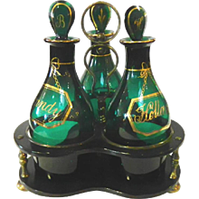 Tantalus with Bristol Green Decanters 19th c.