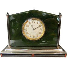 Tiffany Art Deco Jade and Sterling Clock