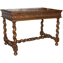 Louis XIII Oak Bureau Plat with Barley Twist