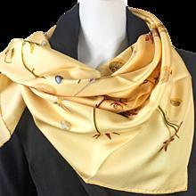 Hermes Silk Scarf Fleurs et Plumes Buttercup Yellow NIB