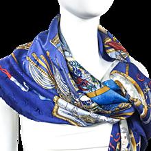 Hermes Silk Jacquard Scarf Le Geographe by Sandra Laroche RARE