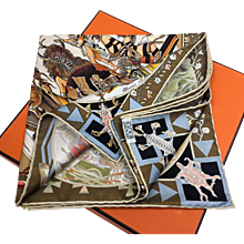 Hermes Silk Scarf Les Mythologies des Hommes Rouges Kermit Oliver RARE Unworn w/Box