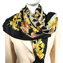 Hermes Silk Scarf British Heraldry Black Colorway