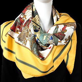 Hermes Silk Scarf Le Temps des Marionnettes Yellow