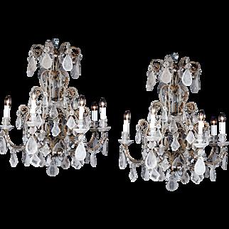 1910 Italian-style Beads Rock Crystal Chandelier