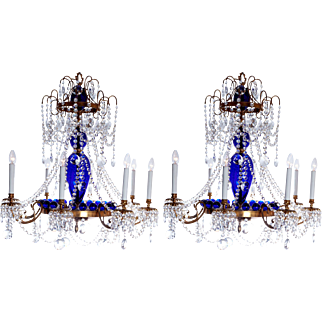 Pair of Russian chandeliers in cobolt blue