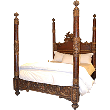Carved 19th Century Italian Poster Bed