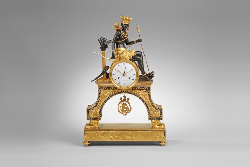 A Directoire Ormolu Mantel Clock representing America
