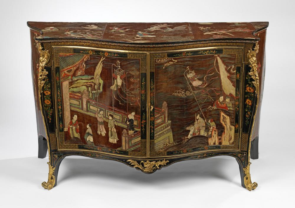 A George III Coromandel Lacquer, gilt-brass mounted serpentine commode
